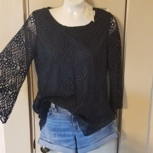 Brittany Black Navy Lace Blouse